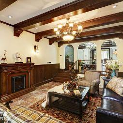 传统美式乡村客厅有梁吊顶效果图