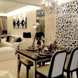 湖南郴州君悦澜山样板房新古典餐厅雕花背景墙效果图
