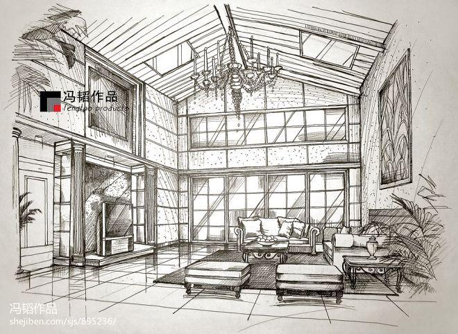 欧式别墅室内手绘装修设计图片