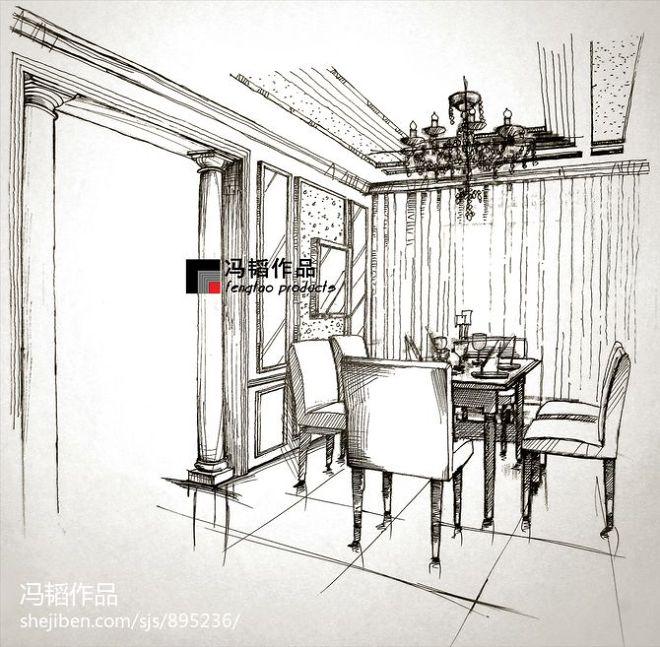 欧式餐厅室内手绘装修设计图片