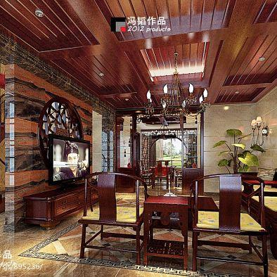 大面积实木吊顶为中国古典风更添浓浓民族风情
