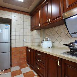 现代美式厨房地板砖装修设计效果图
