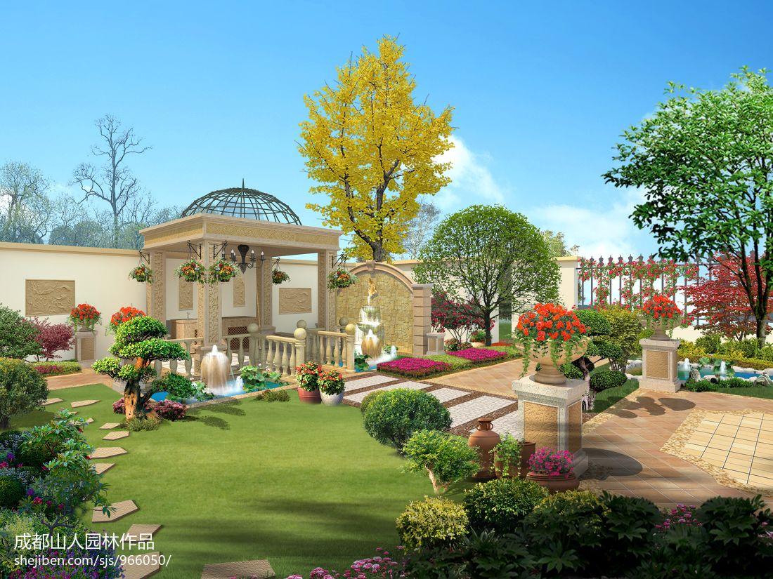 欧式别墅庭院设计_欧式别墅花园设计庭院绿化效果图 – 设计本装修效果图