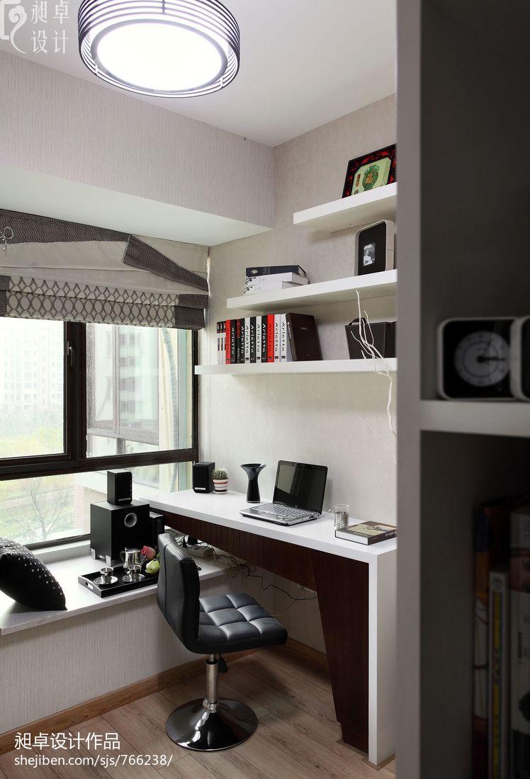 现代简约电视墙墙纸_现代简约书房书柜装修效果图 – 设计本装修效果图