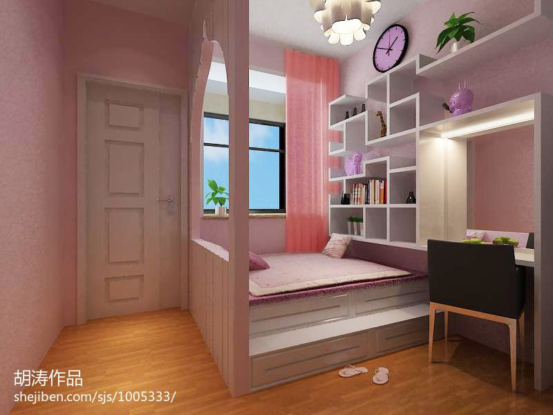 卧室装修榻榻米_粉红卧室小户型装修榻榻米图片 – 设计本装修效果图