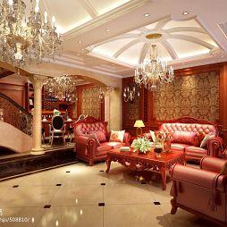 欧式奢华沙发吊灯设计效果图