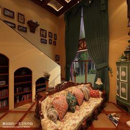 美式风格客厅窗帘效果图