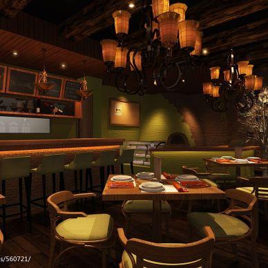 田园风格西餐厅餐桌效果图