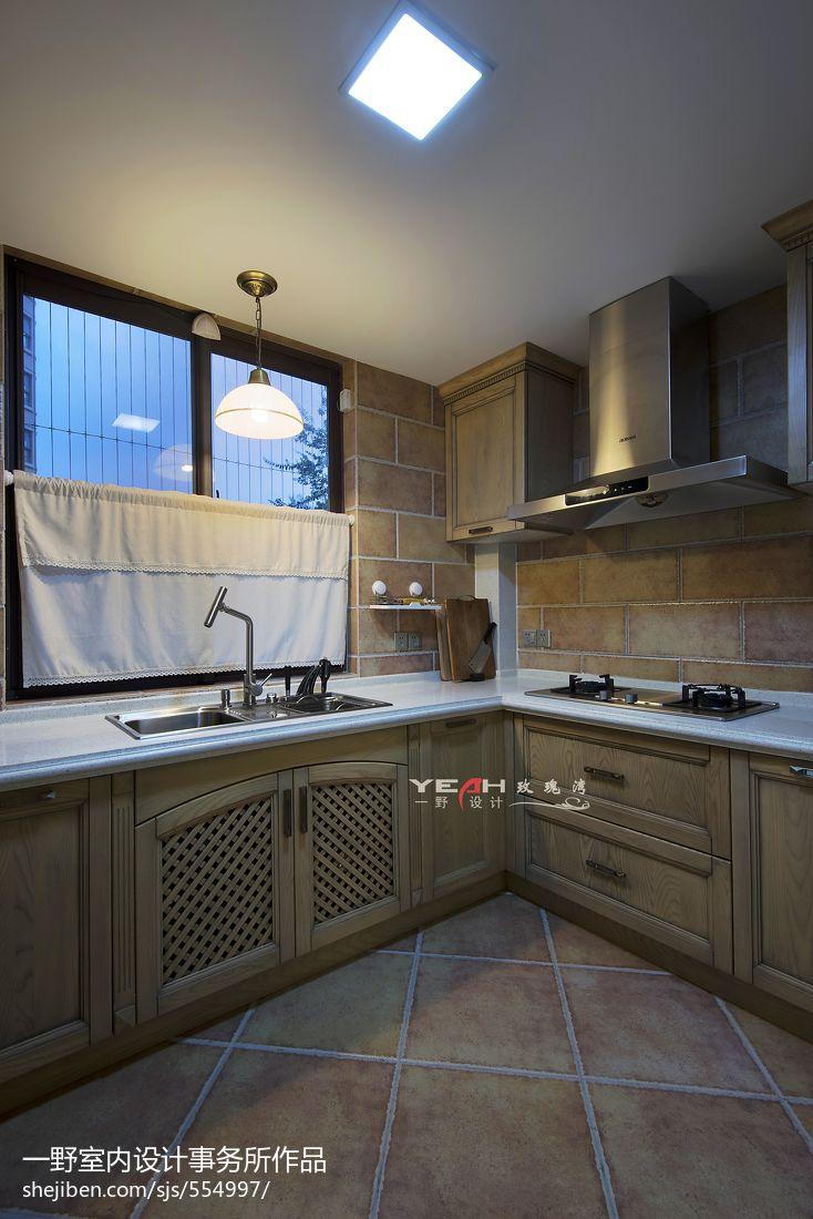热门资讯_美式厨房整体橱柜效果图 – 设计本装修效果图