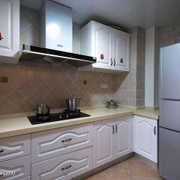 现代美式两室两厅厨房时尚橱柜装修设计效果图