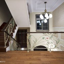 现代美式别墅楼梯扶手隔断装修效果图大全