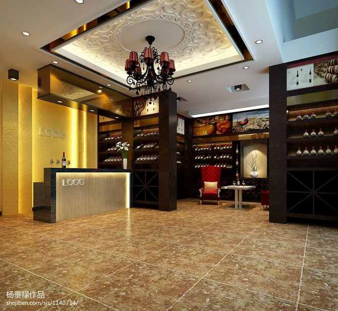 中式葡萄酒庄园大厅装修图