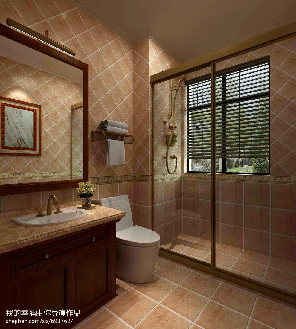蹲式厕所装修效果图_现代下沉式卫生间装修设计效果图 – 设计本装修效果图