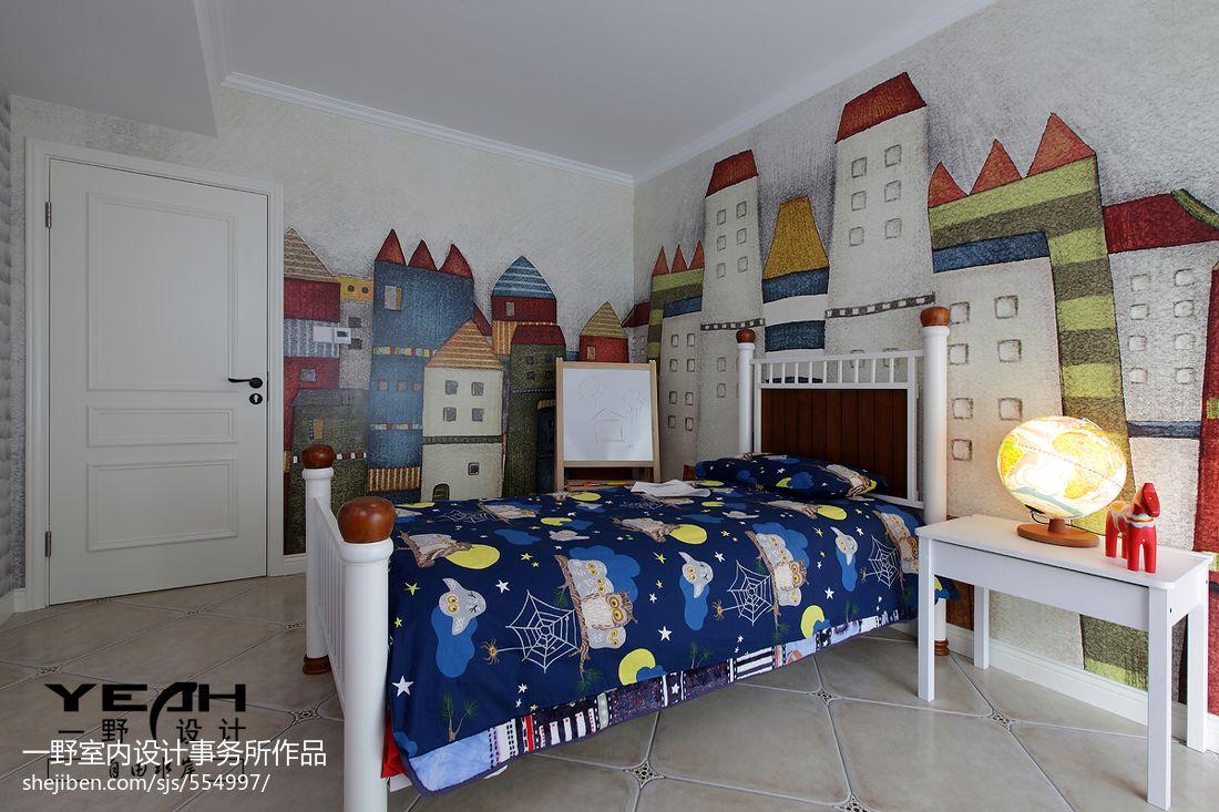 家装客厅电视背景墙_美式儿童房手绘背景墙装修实景 – 设计本装修效果图