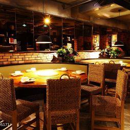 餐厅仿古砖设计中式背景墙效果图