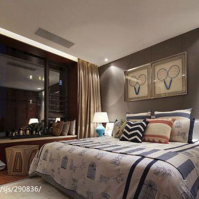 简中_卧室床头背景墙装修设计效果图