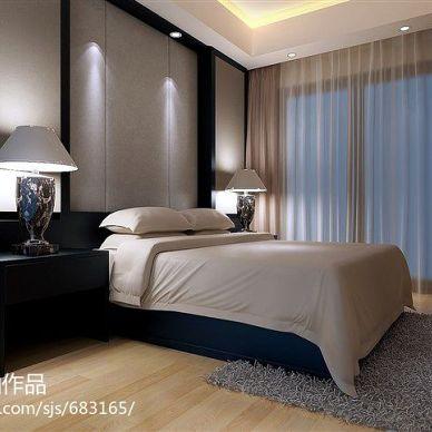 现代空间_现代卧室简约窗帘装修设计效果图