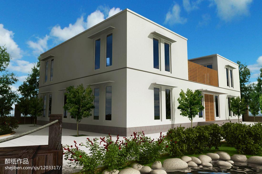别墅外墙设计效果图_现代别墅外墙砖装修效果图 – 设计本装修效果图
