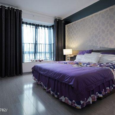 丽岛_现代卧室时尚床头背景墙装修设计效果图