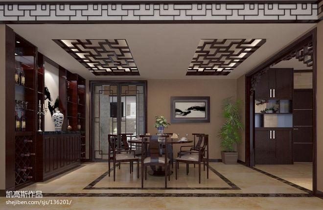 中式风格餐厅边柜装修设计效果图