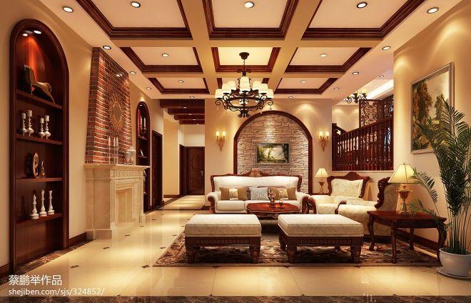 经典美式风格客厅装修效果图