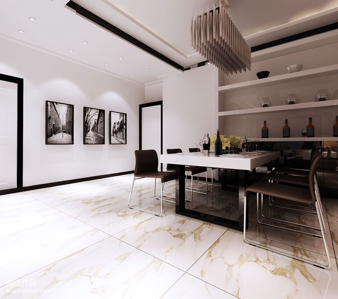 黑白配家装效果图_黑白灰2现代餐厅墙上置物架装修设计效果图 – 设计本装修效果图