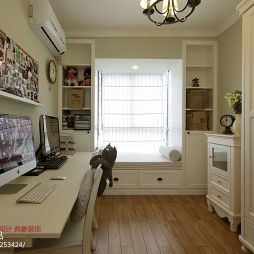 美式小清新书房飘窗收纳柜装修图片