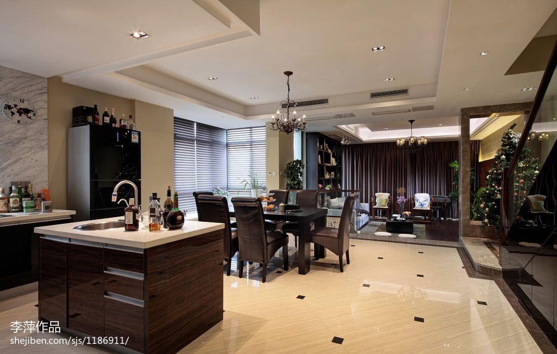 餐厅吊灯模型_新中式敞开式厨房厨房餐厅装修图片 – 设计本装修效果图