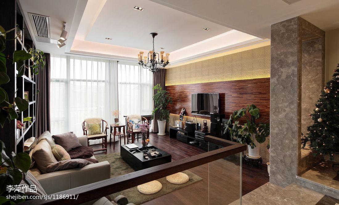 新中式卧室背景墙_新中式错层客厅木饰面电视背景墙装修效果图 – 设计本装修效果图