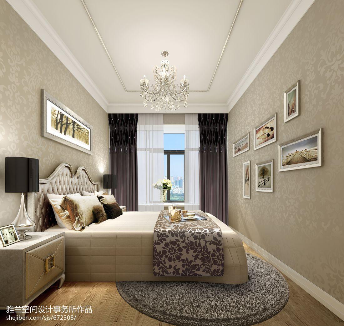 主卧背景墙纸效果图_精装样板房欧式卧室壁纸窗帘装修设计效果图 – 设计本装修效果图