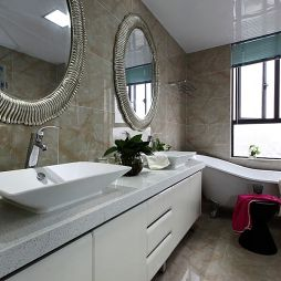 现代风卫生间仿古砖装修效果图