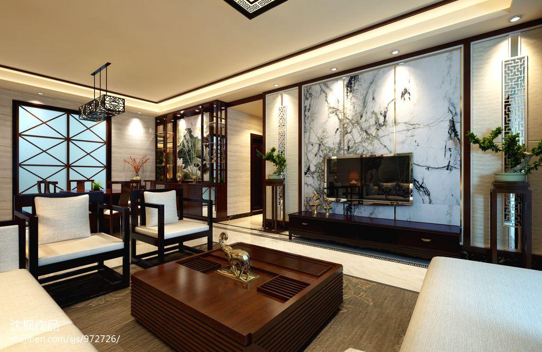 中式装修效果图_新中式风格古典客厅墙贴瓷砖装修效果图 – 设计本装修效果图