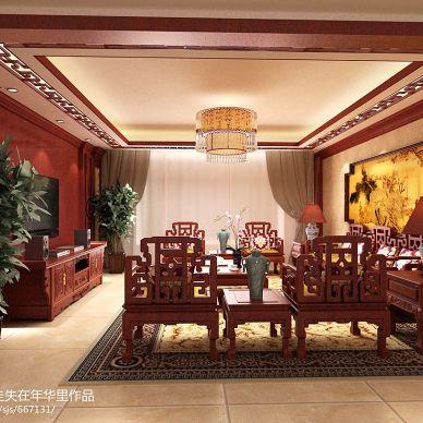 中式古典客厅红色家具装修效果图