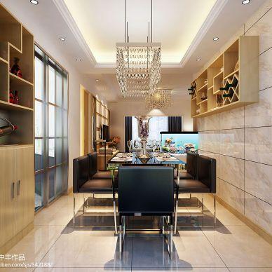 山河锦园现代餐厅酒柜装修设计效果图