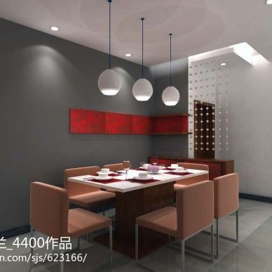 乐山现代餐厅时尚简约背景墙装修设计效果图