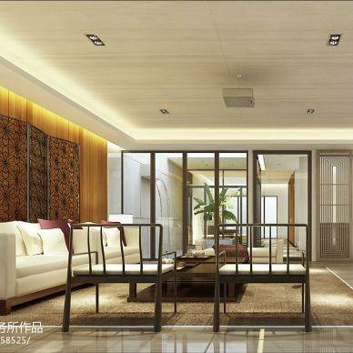 曦城别墅中式风格客厅沙发背景墙装修效果图