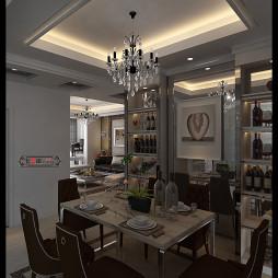 东方丽都现代欧式餐厅隔断吊顶吊灯装修设计效果图