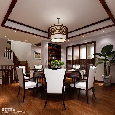 湖州金冶香榭里中式餐厅华丽酒柜装修设计效果图