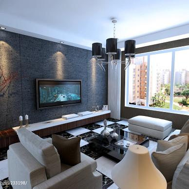 新加坡城现代风客厅窗帘装修效果图