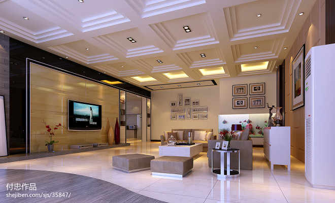 自建房现代客厅装修效果图