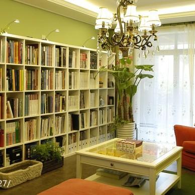 小户型简欧客厅书房一体装修效果图