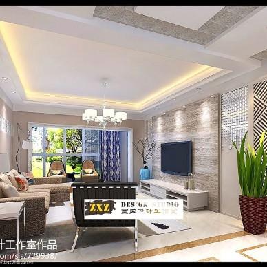 荟萃中央现代客厅吊顶吊灯装修效果图