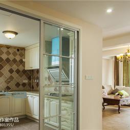 美式风格复式楼厨房推拉门装修设计效果图