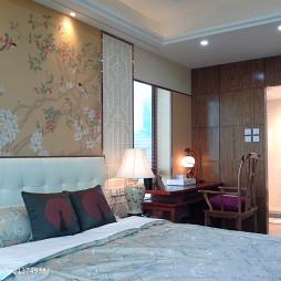 中式时尚古典卧室十字绣背景墙图案装修效果图大全
