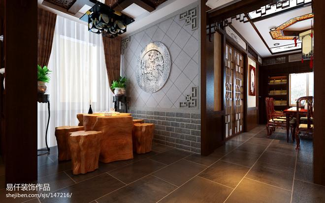 中式风格根雕茶台图片