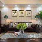 简约美式客厅背景墙装修图