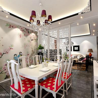 新中式风格餐厅隔断效果图