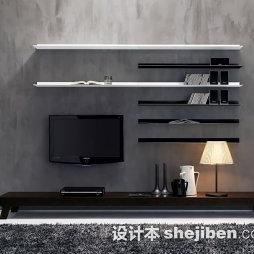 黑白壁纸电视墙的效果图