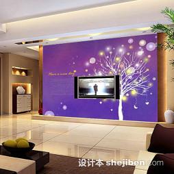 紫色壁纸电视墙装修效果图大全2017图片