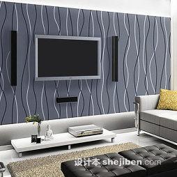 客厅竖条壁纸电视墙效果图